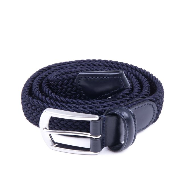 Woven elasticated textile belt - Navy Thumbnail