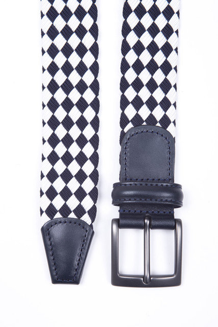 Woven elasticated textile belt - Navy/White check Thumbnail