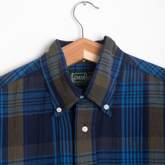 Navy Madras Button Down