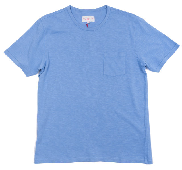 SKY BLUE GARMENT DYED POCKET TEE Thumbnail