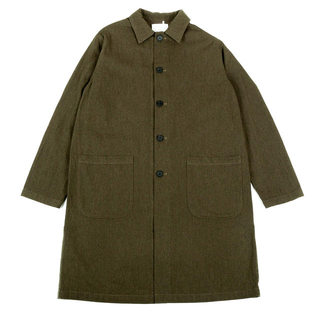 CAMPBELLTOWN COAT - FOREST GREEN COTTON/WOOL TWILL Thumbnail