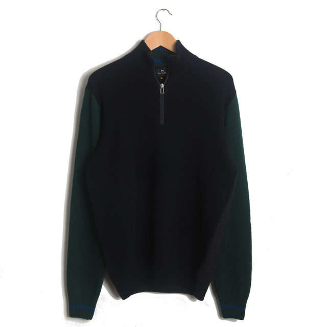 ZIP NECK SWEATER - NAVY GREEN  Thumbnail