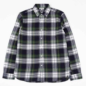 Classic Plaid Flannel Shirt - Green/Navy/White