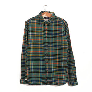 Green Brushed Plaid Flannel Shirt - Green/Orange/Blue