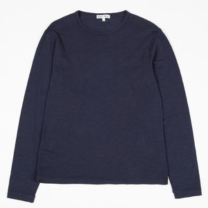 L/S SLUB COTTON T-SHIRT - NAVY