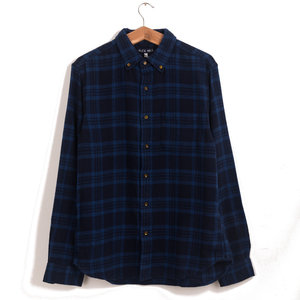 Navy Check Flannel Shirt - Navy / Blue