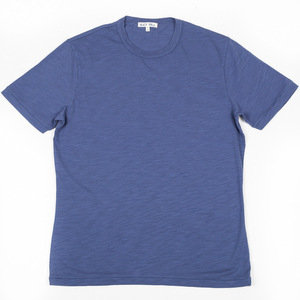 SLUB COTTON T-SHIRT - BLUE STORM