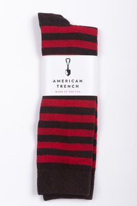 Rugby Stripe Socks - Red/Brown