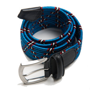 Woven elasticated textile belt - Blue Zig Zag