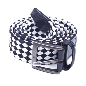 Woven elasticated textile belt - Navy/White check