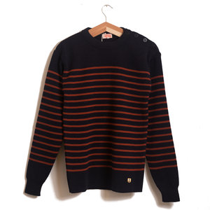 Button Shoulder Jumper - Rich Navy / Brick