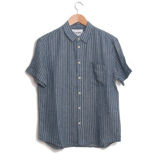 Blue Heavy Linen Stripe Shirt