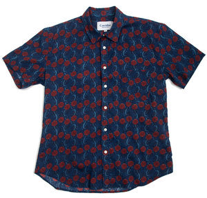 Handblock Hawaiian Shirt - Navy