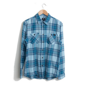 Labour Shirt Light Herringbone Flannel - Cool Blue