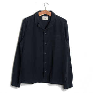 Long Sleeve Soft Collar Shirt - Navy