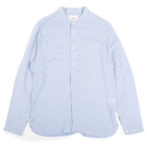Half Placket Grandad Shirt - Blue Slub