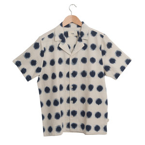 SS Soft Collar Shirt - Ecru Indigo Dot Ikat