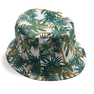 Bucket Hat - Palm on White
