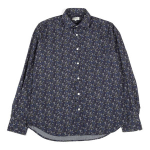 Paul Shirt Blue Green Flowers - Navy