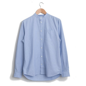 HANS COLLARLESS OXFORD - PALE BLUE