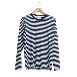 NIELS CLASSIC STRIPE L/SLEEVE - Dark Navy/Light Olive
