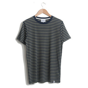 NIELS CLASSIC STRIPE S/SLEEVE - Dark Navy/Light Olive