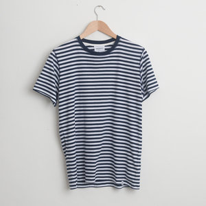NIELS CLASSIC STRIPE S/SLEEVE - Dark Navy/White