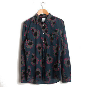 TAILORED SHIRT 46 - INDIGO FLOWER PRINT