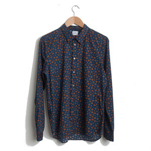 Tailored Shirt - Indigo/Orange Flowers