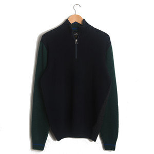 ZIP NECK SWEATER - NAVY GREEN