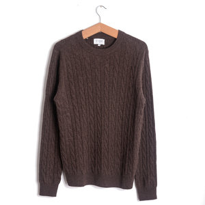 Crew Cable Cashmere - Brown