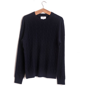 Crew Cable Cashmere - Navy