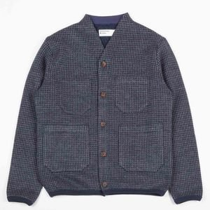 Cardigan - Navy Houndstooth Jersey