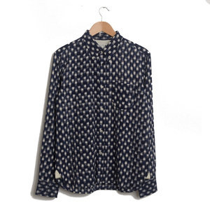 Day Shirt - Navy Double Ikat Squares