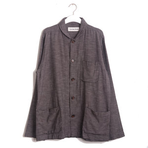 Shawl Collar Overshirt - Brown Seal Cotton
