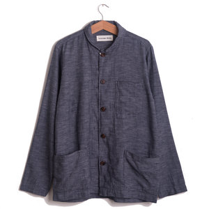 Shawl Collar Overshirt - Navy Seal Cotton