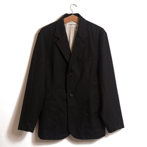 Two Button Jacket In Charcoal Cotton Wool Mix