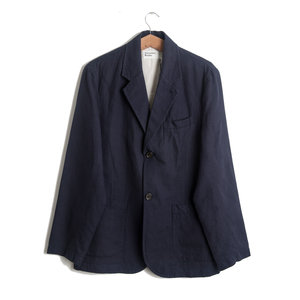 Two Button Jacket - Navy Cotton Linen Panama
